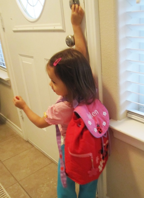 K said she's heading to school. :)