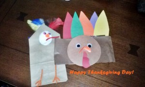 "These are Kaye's finished arts and crafts from the Pre-K ""T"" is for Turkey party last Saturday."