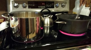 Deep-frying the lumpia in these pots. :)