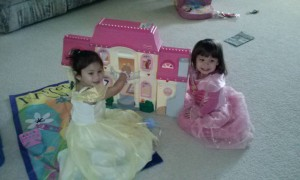 Playing Dress Up with Audrey.  DD is Princess Aurora and Audrey is Princess Belle.