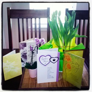 Greeting cards, tulips, and an orchid for our 6th wedding anniversary.