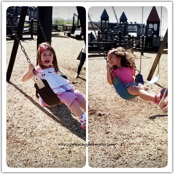 "But the girls were more interested in playing at the playground.   ""Higher, mommy!"" ""Weee!"""