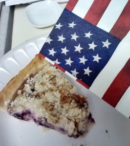 Mom's Blueberry pie on the 4th of July.  :)
