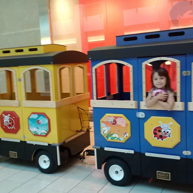 She always liked to sit in the front car of the train.  :)
