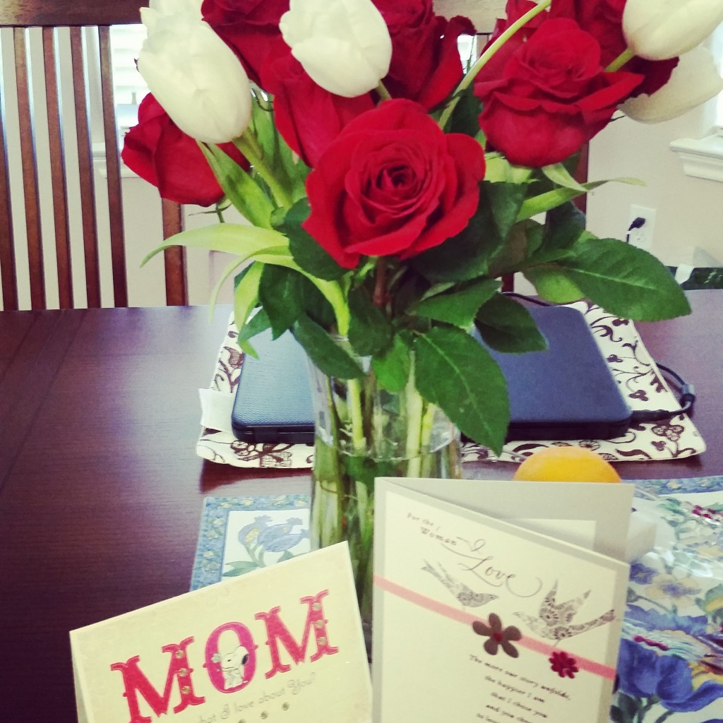 Flowers and cards from my loves.