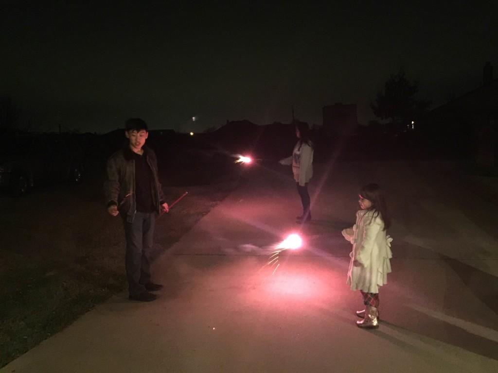 The kids enjoyed lighting the sparklers.